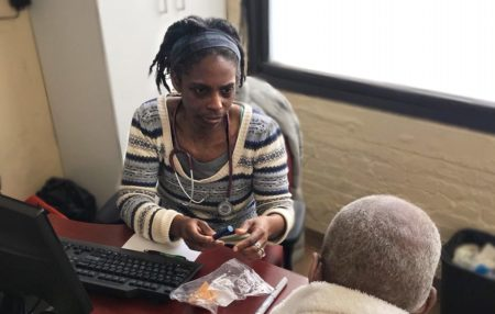 Care For the Homeless Physician Dr. Andrea Littleton with a Patient Ending Homelessness
