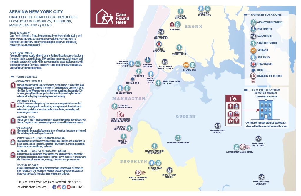 Care For the Homeless (CFH) Map as of July 2019